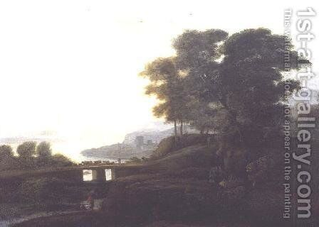 Landscape with cattle and goats crossing a bridge by Claude Lorrain (Gellee) - Reproduction Oil Painting