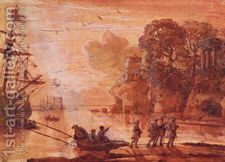 The Disembarkation of Warriors in a Port, possibly Aeneas in Latium, 1660-65 by Claude Lorrain (Gellee) - Reproduction Oil Painting