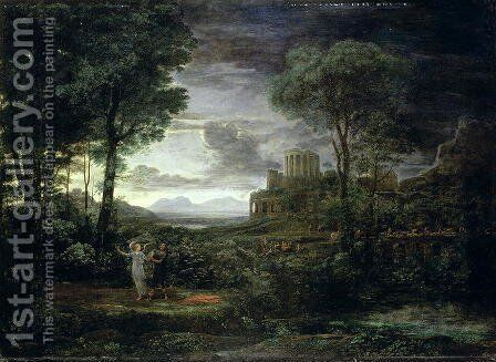 Landscape with Jacob Wrestling with the Angel, or Night, 1672 by Claude Lorrain (Gellee) - Reproduction Oil Painting
