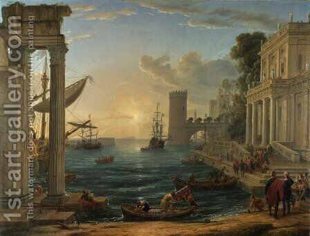 Seaport with the Embarkation of the Queen of Sheba, 1648 by Claude Lorrain (Gellee) - Reproduction Oil Painting