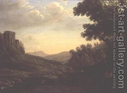 Extensive Wooded Landscape with Ruined Temple by Claude Lorrain (Gellee) - Reproduction Oil Painting