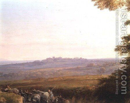 Landscape with Cowherds by Claude Lorrain (Gellee) - Reproduction Oil Painting