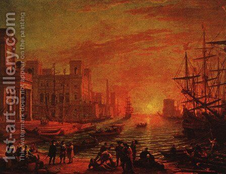 Sea Port at Sunset, 1639 by Claude Lorrain (Gellee) - Reproduction Oil Painting