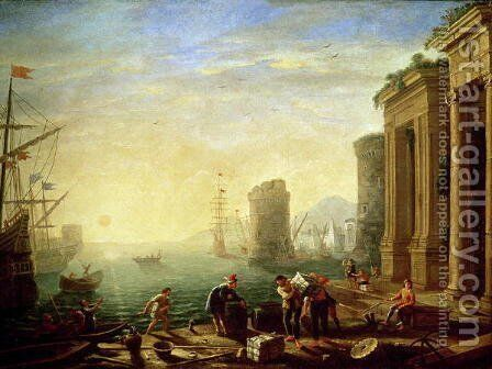 Morning at the Port, 1640 by Claude Lorrain (Gellee) - Reproduction Oil Painting