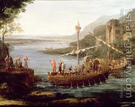 Landscape with the arrival of Aeneas at Pallanteum (detail) by Claude Lorrain (Gellee) - Reproduction Oil Painting
