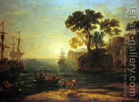 Arrival of Aeneas in Italy, the Dawn of the Roman Empire by Claude Lorrain (Gellee) - Reproduction Oil Painting