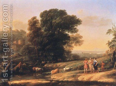 Landscape with Cephalus and Procris Reunited by Diana, 1645 by Claude Lorrain (Gellee) - Reproduction Oil Painting