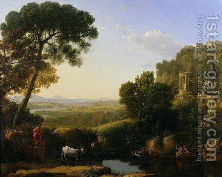 A Sunset or Landscape with Argus Guarding Io by Claude Lorrain (Gellee) - Reproduction Oil Painting