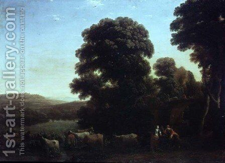 A Pastoral Landscape by Claude Lorrain (Gellee) - Reproduction Oil Painting