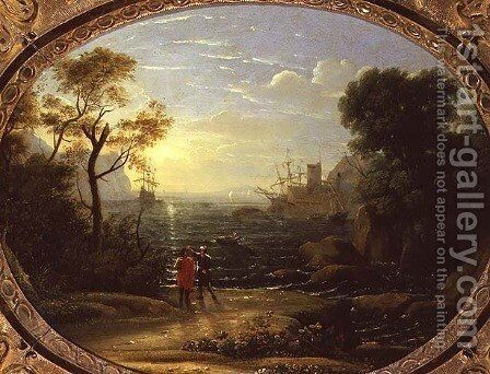 Coastal Landscape at Sunset by Claude Lorrain (Gellee) - Reproduction Oil Painting