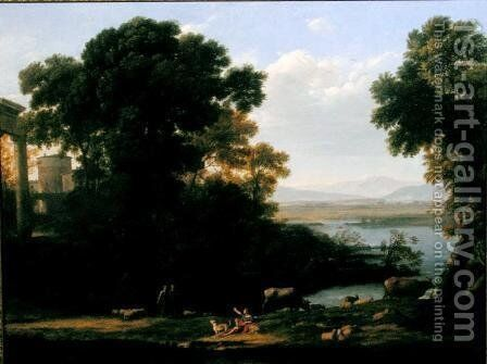 Classical river scene with a view of a town by Claude Lorrain (Gellee) - Reproduction Oil Painting