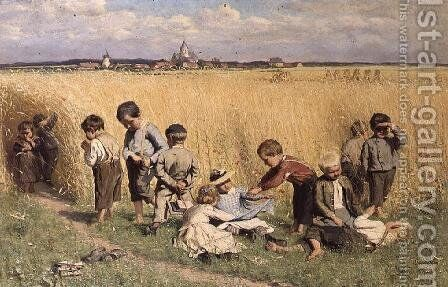 The Route to School by Emile Claus - Reproduction Oil Painting