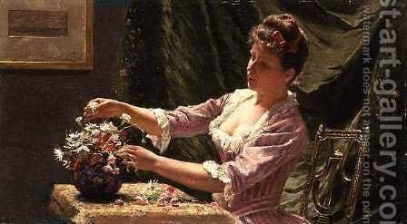 Young Woman Arranging Flowers by Emile Claus - Reproduction Oil Painting