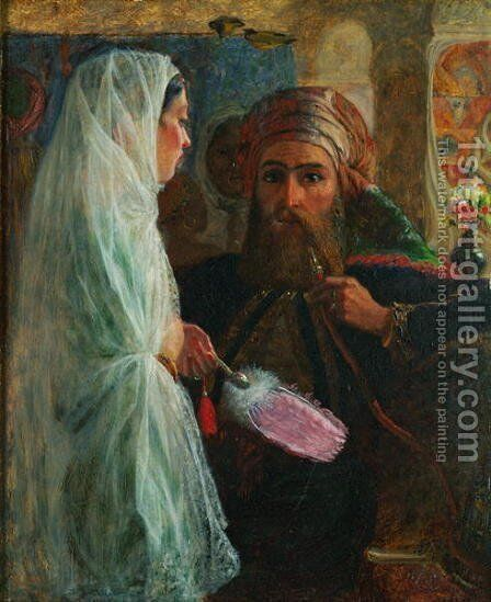 The Hookah Smoker by Marshall Claxton - Reproduction Oil Painting