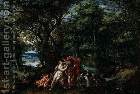 Venus and Adonis in a Wooded Landscape, 1607 by Hendrick De Clerck - Reproduction Oil Painting