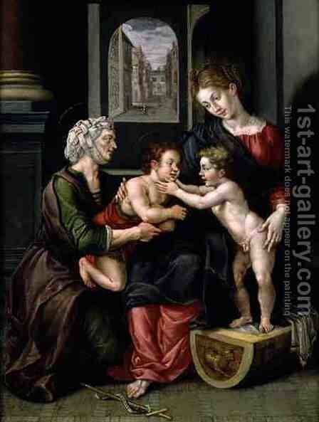 Virgin and Child with the Infant St. John the Baptist and St. Anne by Hendrick De Clerck - Reproduction Oil Painting