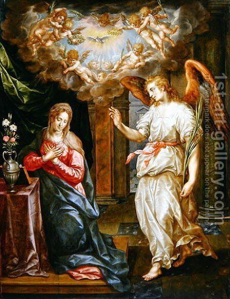 The Annunciation by Hendrick De Clerck - Reproduction Oil Painting