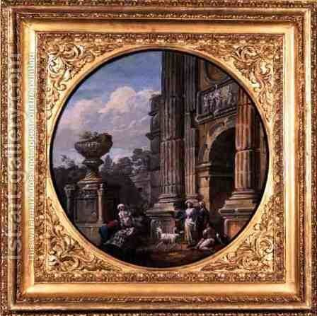 Architectural Subject: Arch, tomb, figures and goats, 1760s by Charles-Louis Clerisseau - Reproduction Oil Painting