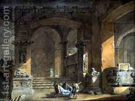 Sepulchral Chamber, c.1773 by Charles-Louis Clerisseau - Reproduction Oil Painting