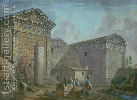 Temple of Augustus, Pola, Istria by Charles-Louis Clerisseau - Reproduction Oil Painting
