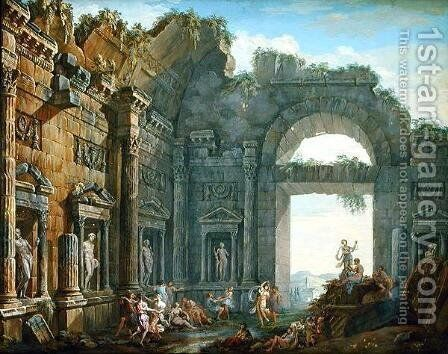 Architectural Ruins (2) by Charles-Louis Clerisseau - Reproduction Oil Painting