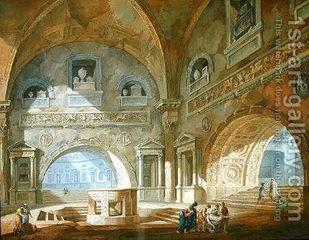 Interior of a mausoleum, 1772 by Charles-Louis Clerisseau - Reproduction Oil Painting