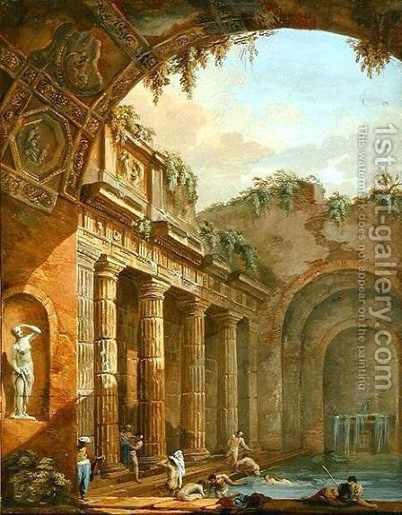 Interior of a Bath by Charles-Louis Clerisseau - Reproduction Oil Painting