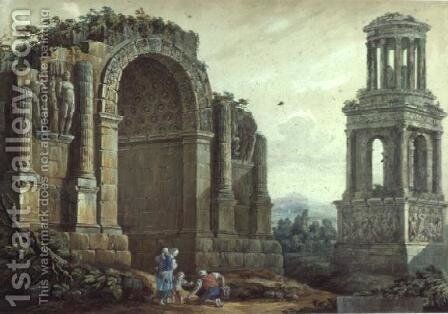 The Triumphal Arch at St.Remy by Charles-Louis Clerisseau - Reproduction Oil Painting