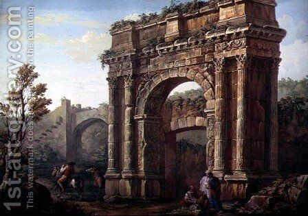 Peasants Near the Arch of Sergius at Poia by Charles-Louis Clerisseau - Reproduction Oil Painting