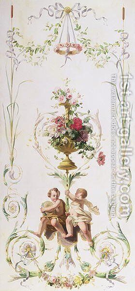 Putti amid swags of flowers and leaves by (circle of) Andien de Clermont - Reproduction Oil Painting