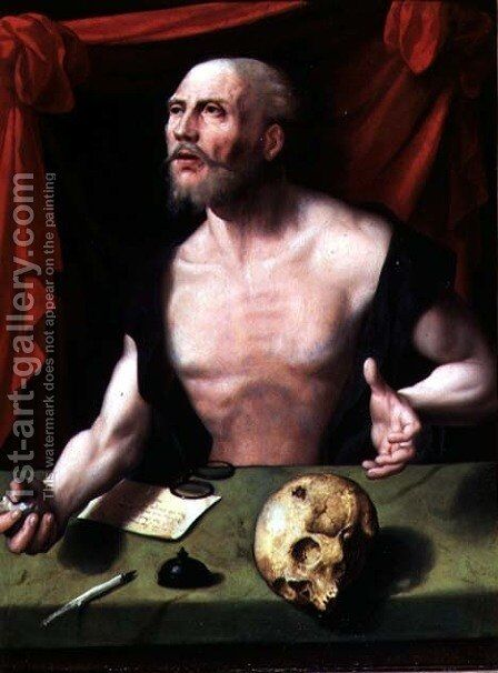 The Penitent St. Jerome in His Study by Anonymous Artist - Reproduction Oil Painting