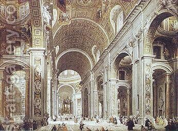 Saint Peter's Basilica by Giovanni Paolo Pannini - Reproduction Oil Painting