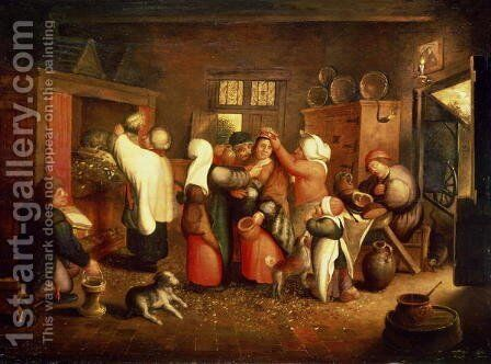 Peasant Wedding by Marten Van Cleve - Reproduction Oil Painting