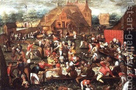 A Country Peasant Wedding Feast or Feast Day by Marten Van Cleve - Reproduction Oil Painting