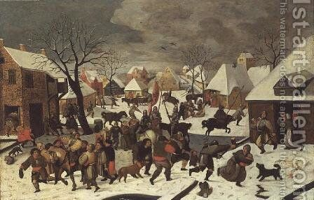 The Massacre of the Innocents by Marten Van Cleve - Reproduction Oil Painting