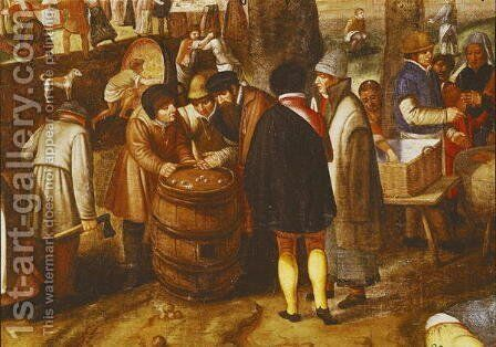 Flemish Fair  (detail of men playing dice) by Marten Van Cleve - Reproduction Oil Painting