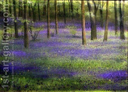 BLUEBELL WOOD WOODLAND  CANVAS PRINT WALL ART PICTURE 18 X 32 INCH