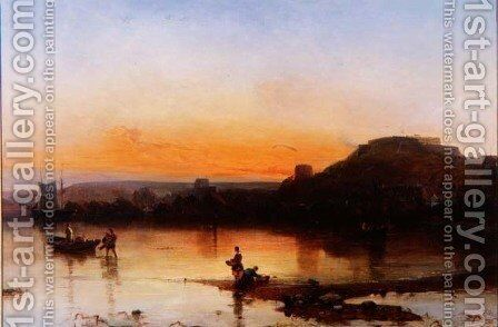 Fort Regent at Sunset by Alfred Clint - Reproduction Oil Painting