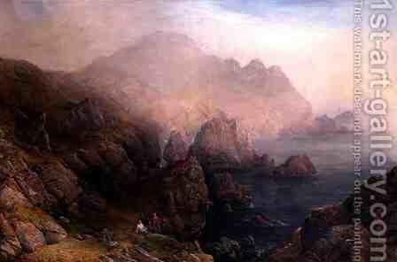 Figures on a Cliff Top by Alfred Clint - Reproduction Oil Painting