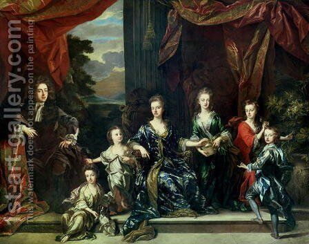 John Churchill (1650-1722) 1st Duke of Marlborough and Sarah (1660-1744) Duchess of Marlborough with their children by Johann Closterman - Reproduction Oil Painting