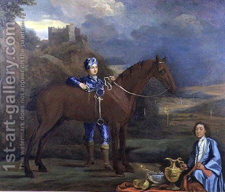 Portrait of a Racehorse and Jockey, c.1690 by Johann Closterman - Reproduction Oil Painting