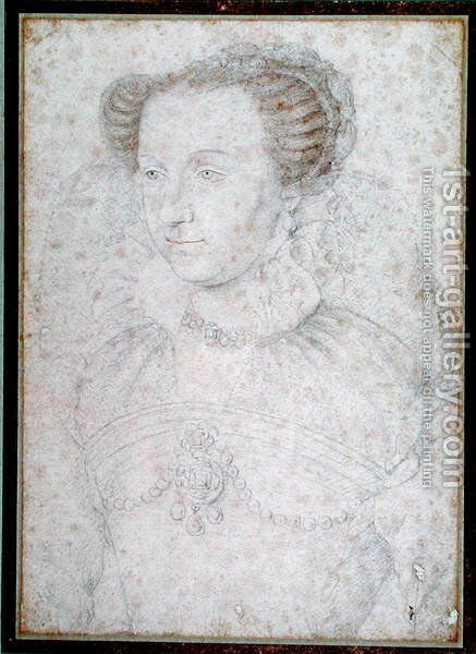 Portrait of Anne d'Este (1531-1607) Princess of Ferrera, after 1566 by (studio of) Clouet - Reproduction Oil Painting