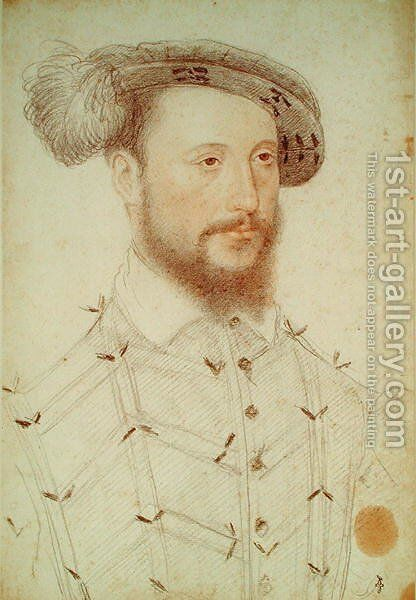 Portrait of a Man, possibly Antoine de Halluin (c.1505-53) seigneur de Piennes, c.1550 by (studio of) Clouet - Reproduction Oil Painting