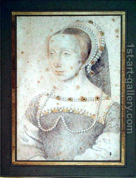 Portrait of an unknown Lady, c.1540 by (studio of) Clouet - Reproduction Oil Painting