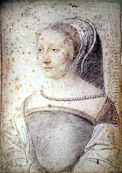 Gilberte (1521-?), daughter of Blaise de Rabutin, seigneur de Huban, c.1538 by (studio of) Clouet - Reproduction Oil Painting