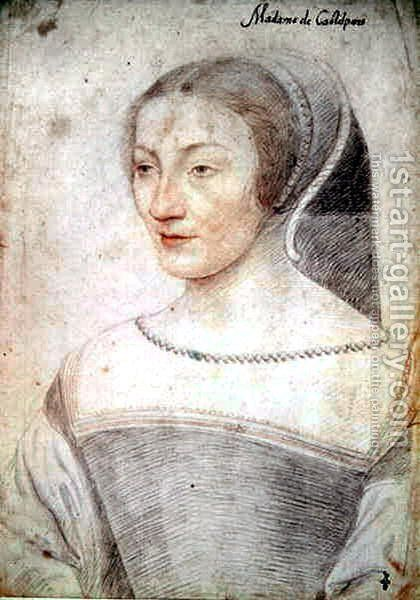 Madeleine d'Ognies (c.1518-71), femme de Brunet, seigneur de Castelpers, c.1538 by (studio of) Clouet - Reproduction Oil Painting
