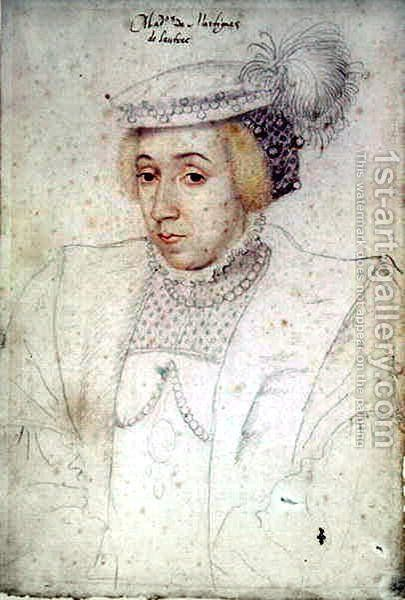 Claude de Foix, vicomtesse de Lautrec, femme de Charles de Luxembourg, vicomte de Martigues, c.1550 by (studio of) Clouet - Reproduction Oil Painting