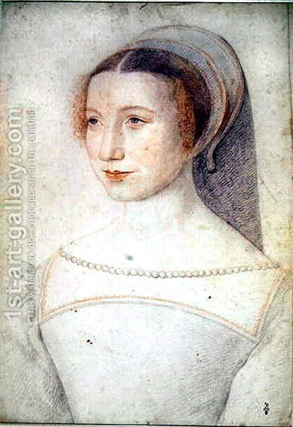 Unknown portrait of a young Lady, c.1540 by (studio of) Clouet - Reproduction Oil Painting