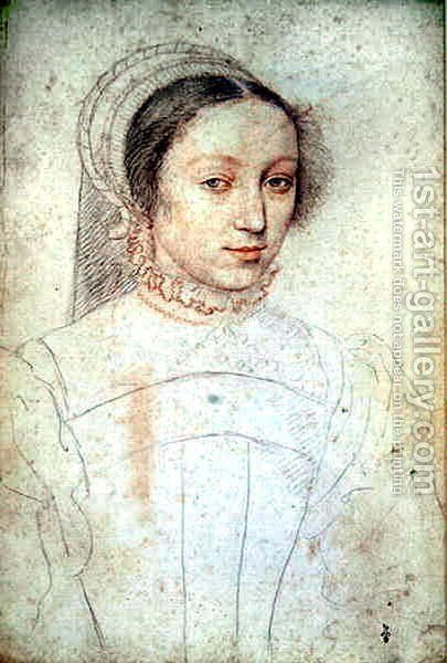Portrait of an unknown Lady, c.1545 by (studio of) Clouet - Reproduction Oil Painting