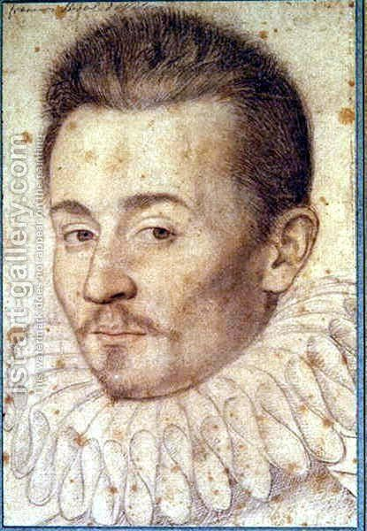 Portrait od an unknown man, probably duc d'Alencon c.1580 by (studio of) Clouet - Reproduction Oil Painting